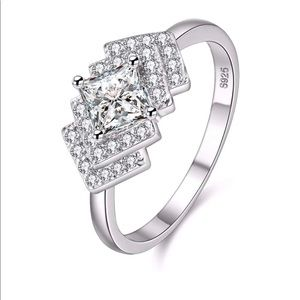 .925 Sterling Silver Diamond Anniversary Ring